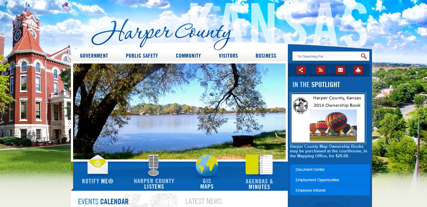 Example of the Homepage of the Harper County Website
